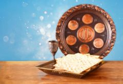 passover background. wine and matzoh (jewish passover bread) ove