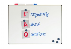 FAQ written on a whiteboard, isolated on white
